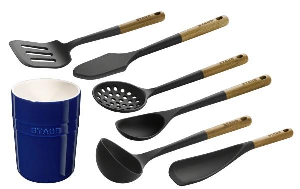 STAUB France Küchenhelfer Akazienholz Keramik Set Blau 7tlg
