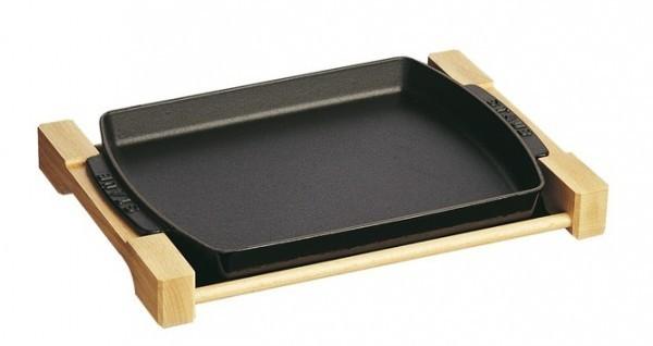 Staub Teller mit Holzunterlage, rechteckig Servierplatten