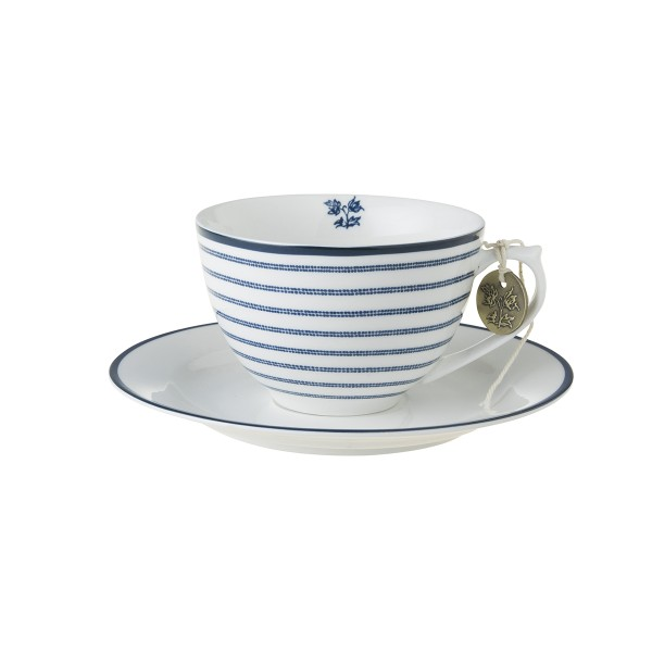 Laura Ashley Blueprint Porzellan Cappuccino Tasse & Untertasse Candy Stripe