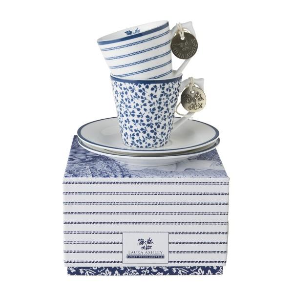 Laura Ashley Blueprint Porzellan set/2 Espresso Tassen & Untertassen Candy Stripe & Floris in Gesche