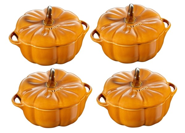Staub Keramik 4-tlg. Kürbis Cocotte-Set 0,7l