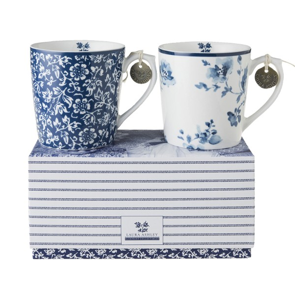Laura Ashley Blueprint Porzellan set/2 Becher Sweet Allysum & China Rose in Geschenkverpackung