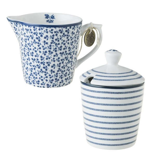 Laura Ashley Blueprint Porzellan Milchkännchen und Zuckerdose - Set