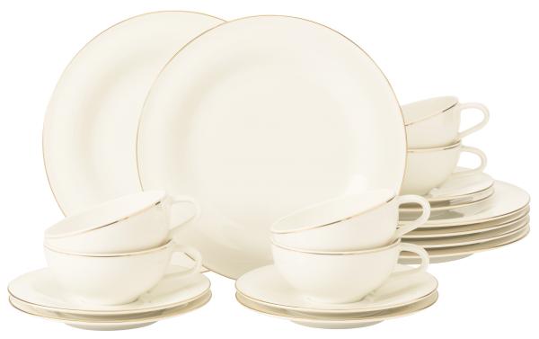 Seltmann Porzellan Medina Gold Teeservice 18-teilig groß