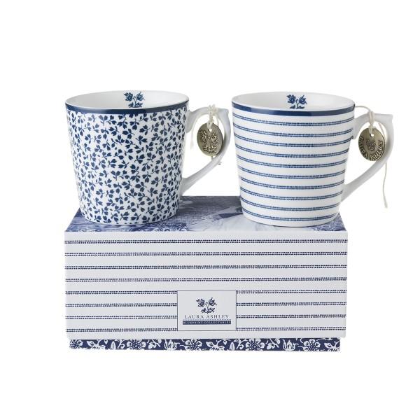 Laura Ashley Blueprint Porzellan set/2 Becher klein Candy Stripe & Floris Geschenkverpackung