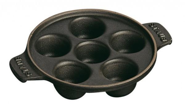 Staub Servieren Schneckenpfanne mit 6 Mulden 14cm schwarz